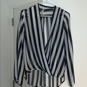 See-thru Striped Blouse - Size: Medium